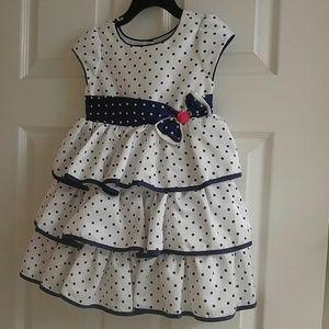 Little girl 3t navy and white ruffled dress